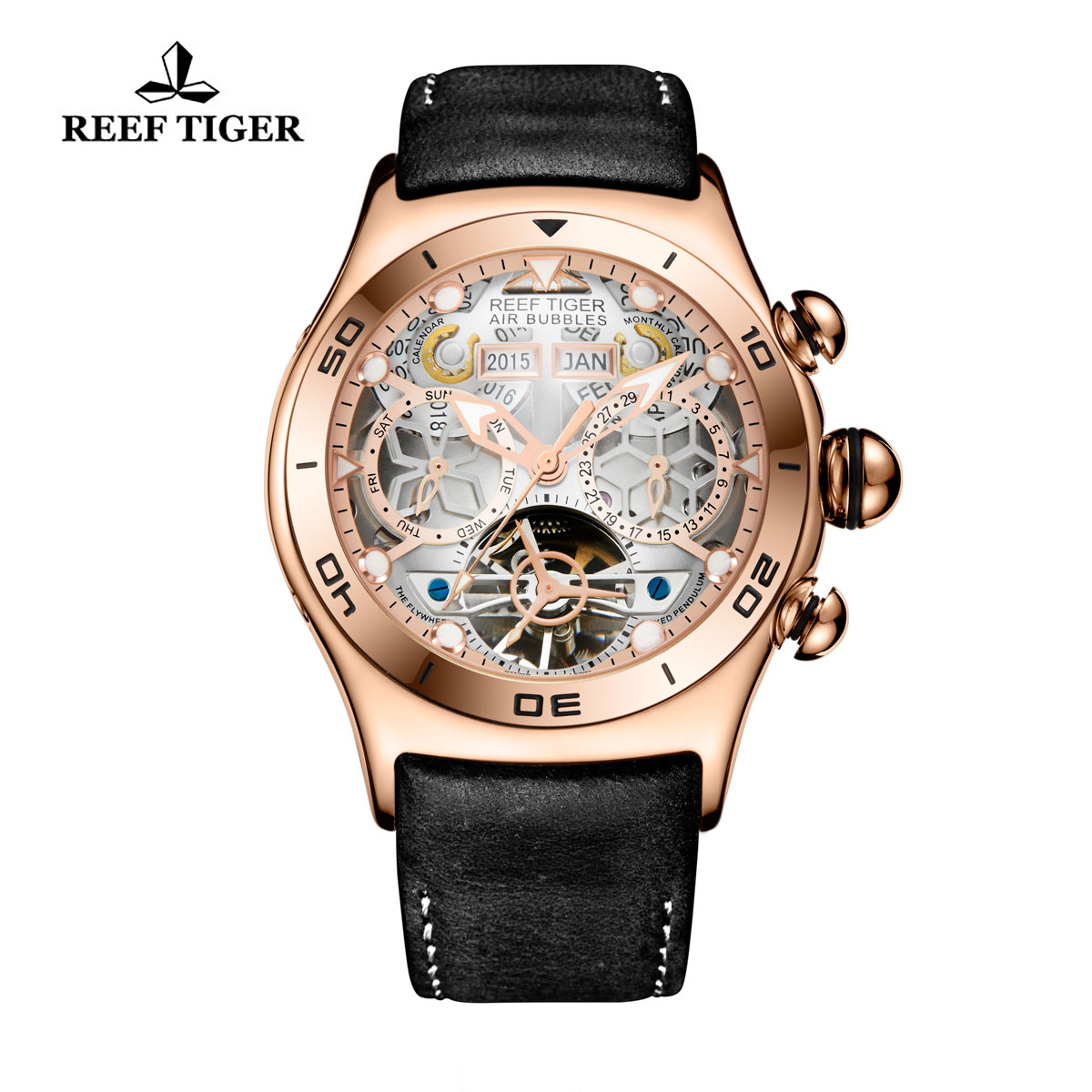 Reef Tiger Air Bubble Sport Casual Watches Automatic Watch Rose Gold Case Leather Strap RGA703-PWB