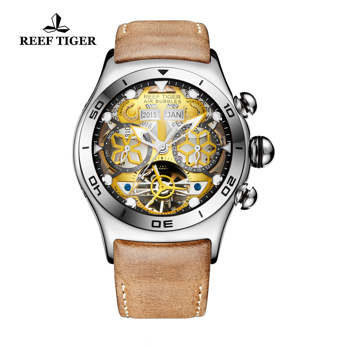 Reef Tiger Sport Casual Watches Automatic Watch Steel Case Leather Strap RGA703-YGB