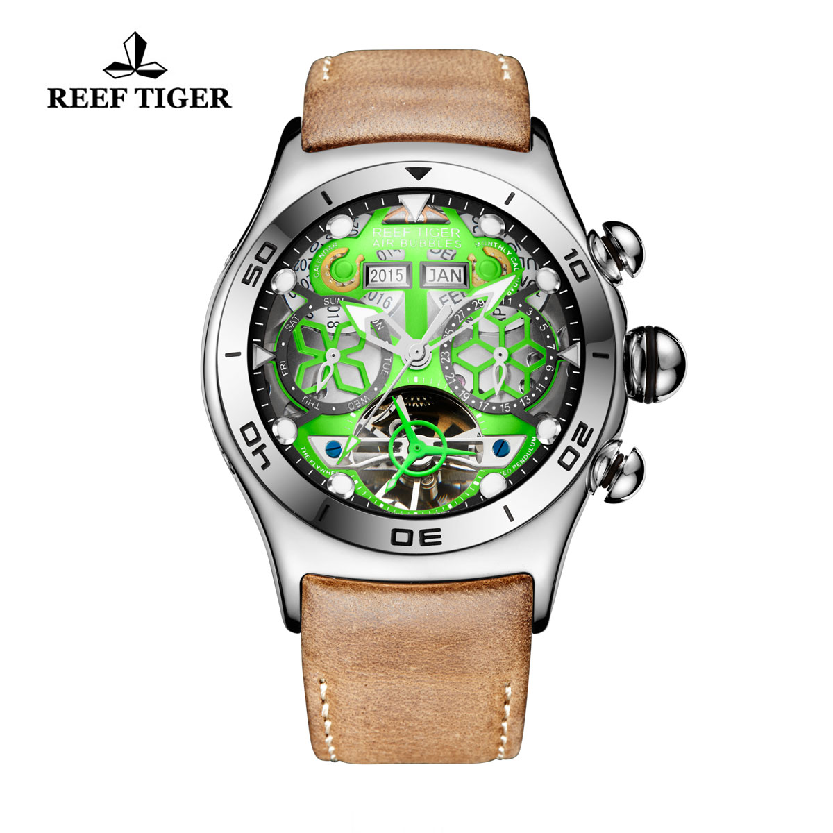 Reef Tiger Sport Casual Watches Automatic Watch Steel Case Leather Strap RGA703-YNB