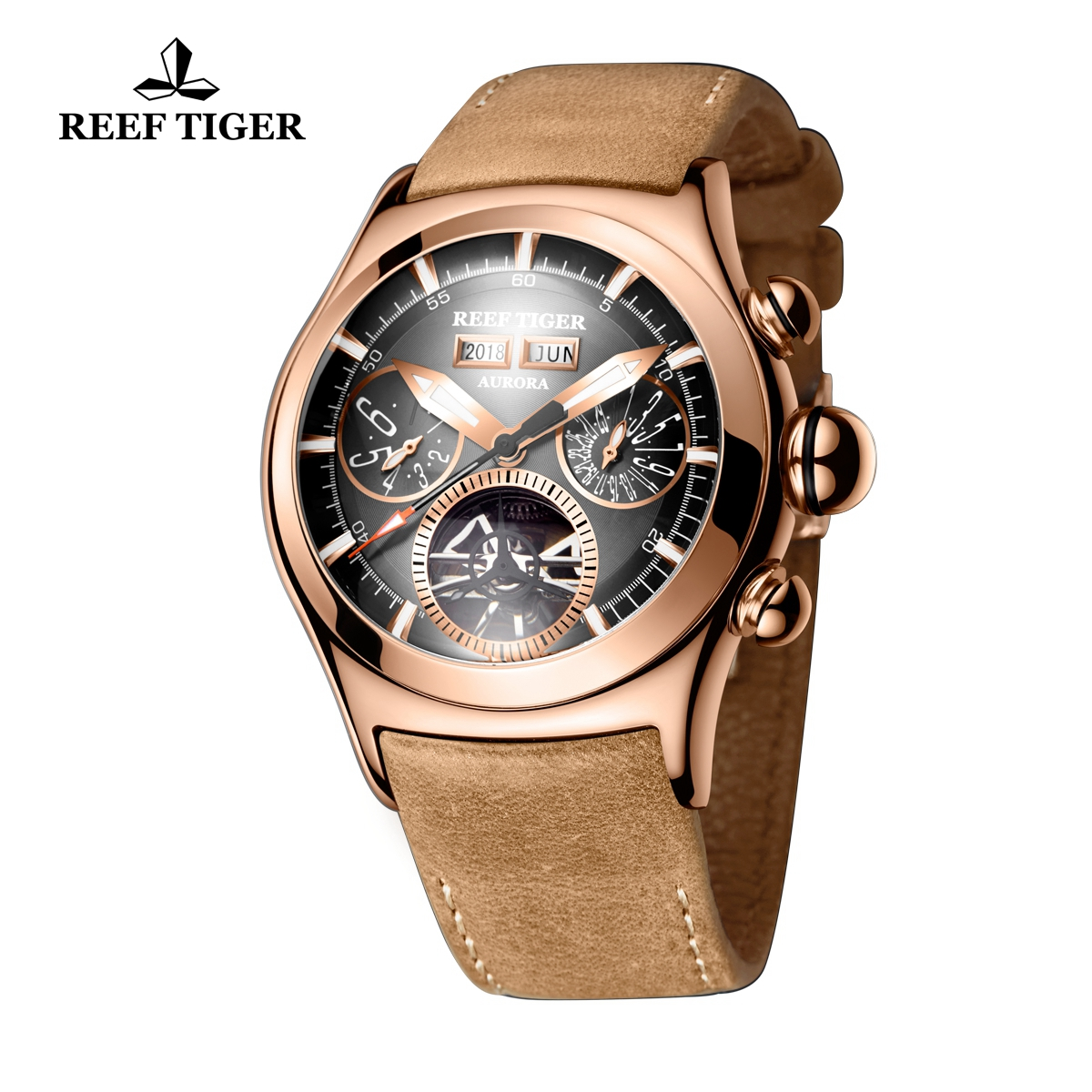 Reef Tiger Air Bubble II Sport Casual Watches Automatic Watch Rose Gold Case Leather Strap RGA7503-PBS