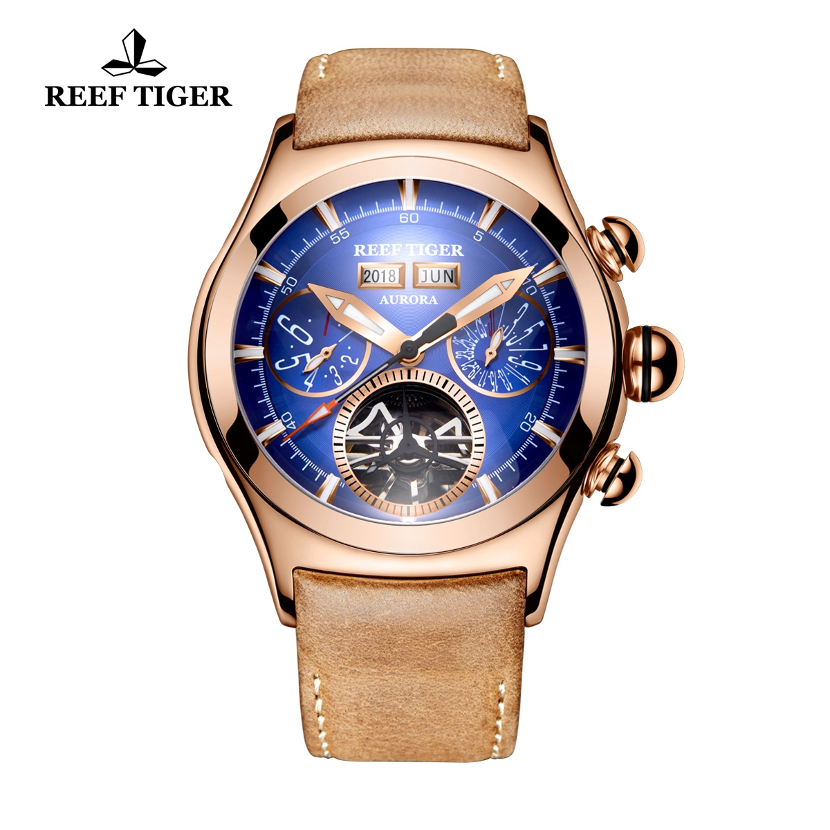 Reef Tiger Air Bubble II Men's Casual Watches Automatic Watch Rose Gold Case Leather Strap RGA7503-PLS