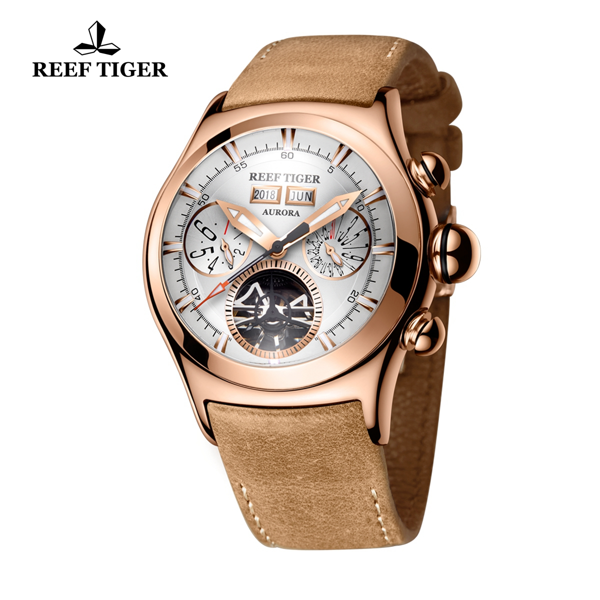 Reef Tiger Air Bubble II Casual Sport Watches Rose Gold Case Leather Strap Automatic Watch RGA7503-PWS