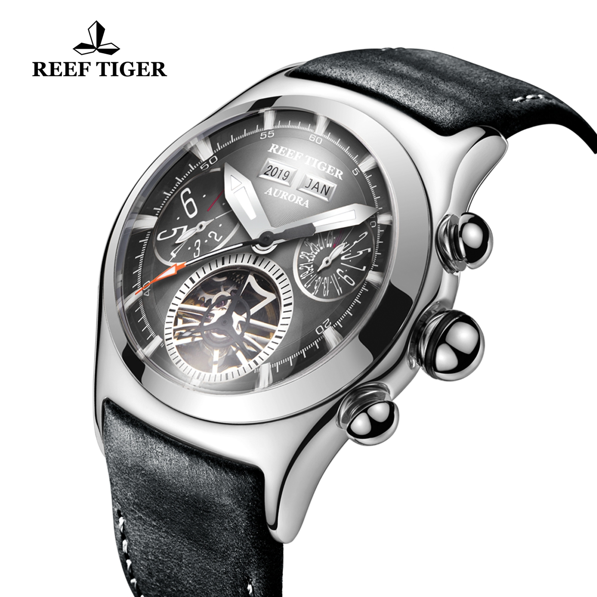 Reef Tiger Air Bubble II Sport Fashion Watches For Men Automatic Watch Steel Case Leather Strap RGA7503-YBB