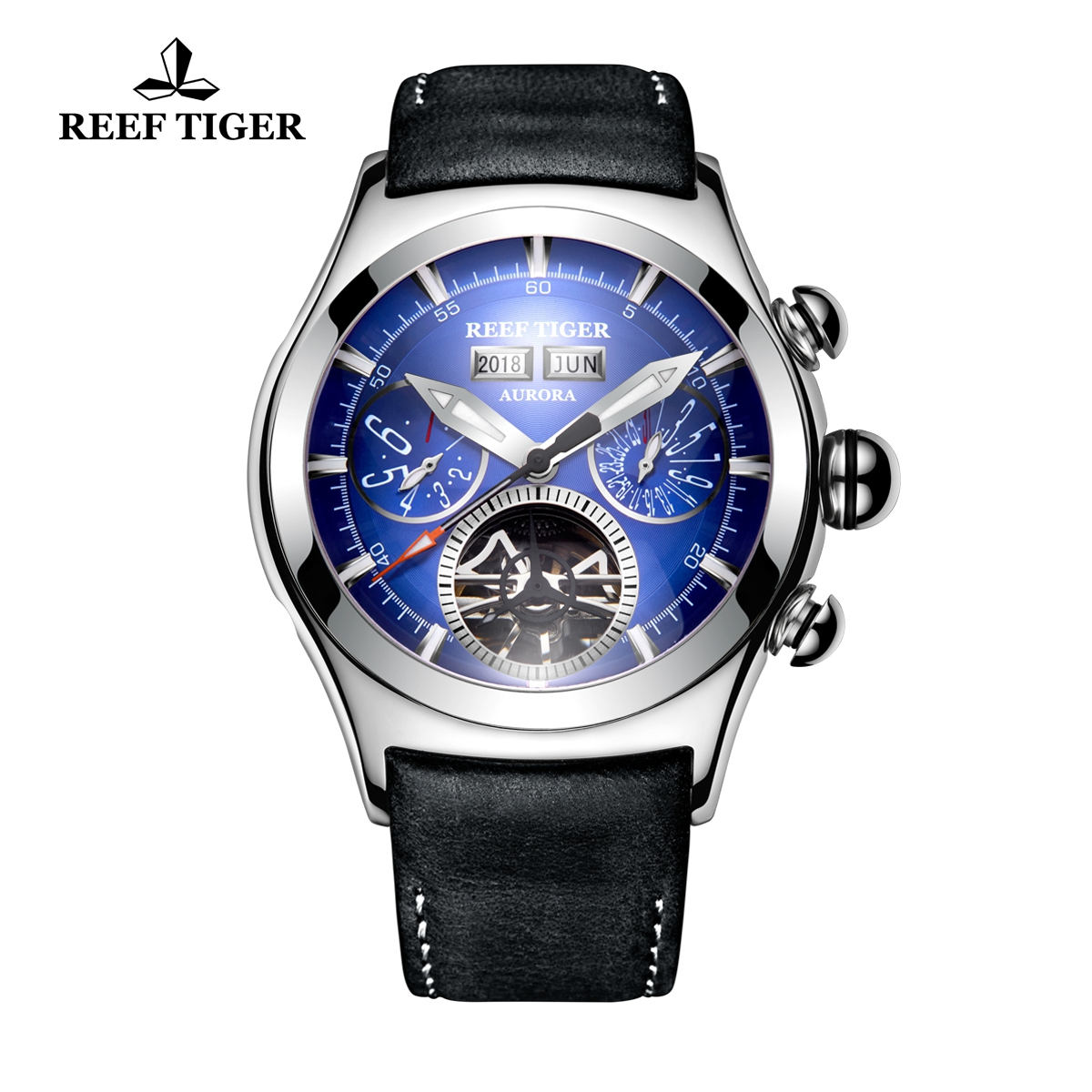 Reef Tiger Air Bubble II Men's Sport Fashion Steel Case Watches Leather Strap Automatic Watch RGA7503-YLB