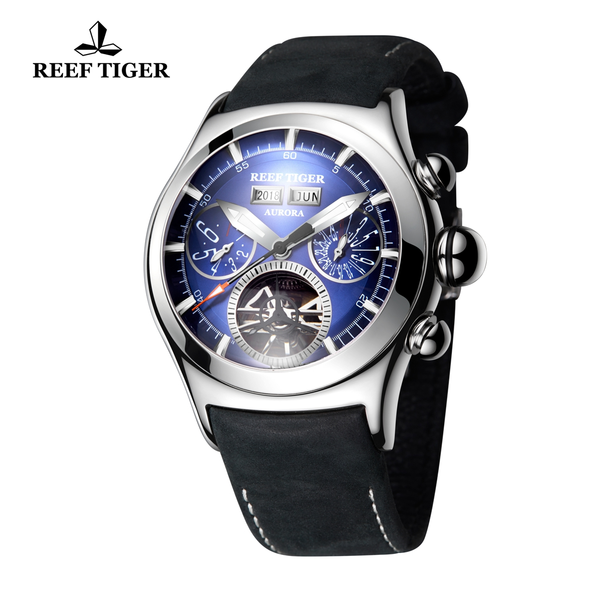 Reef Tiger Air Bubble II Men\'s Sport Fashion Steel Case Watches Leather Strap Automatic Watch RGA7503-YLB