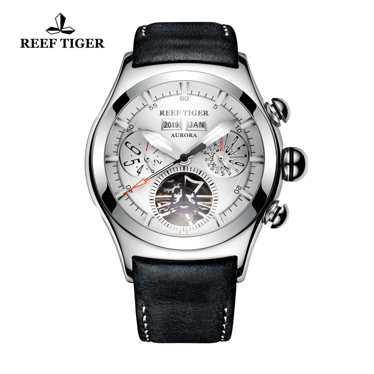 Reef Tiger Air Bubble II Mens Sport Watches Steel Case Fashion Leather Strap Automatic Watch RGA7503-YWB