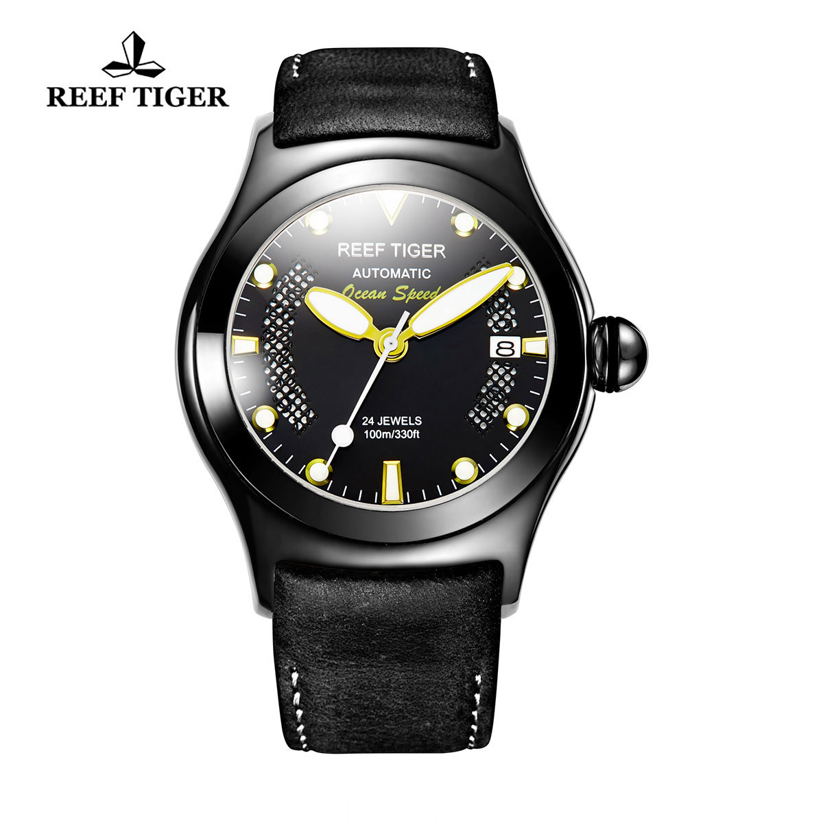 Reef Tiger Ocean Speed Sport Watches Automatic PVD Case Black Leather Black Dial Watch RGA704-BBBG