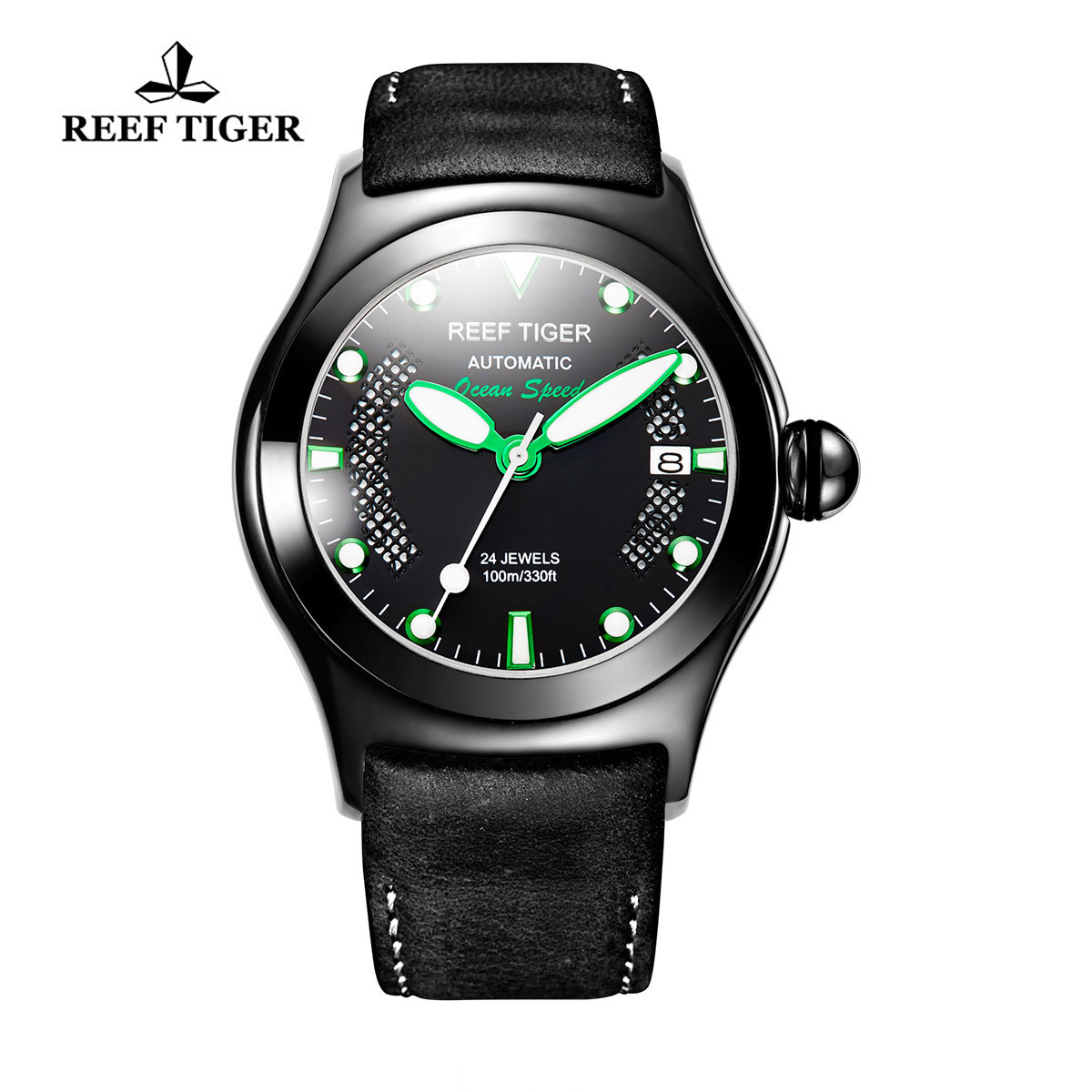 Reef Tiger Ocean Speed Sport Watches Automatic PVD Case Black Leather Black Dial Watch RGA704-BBBN