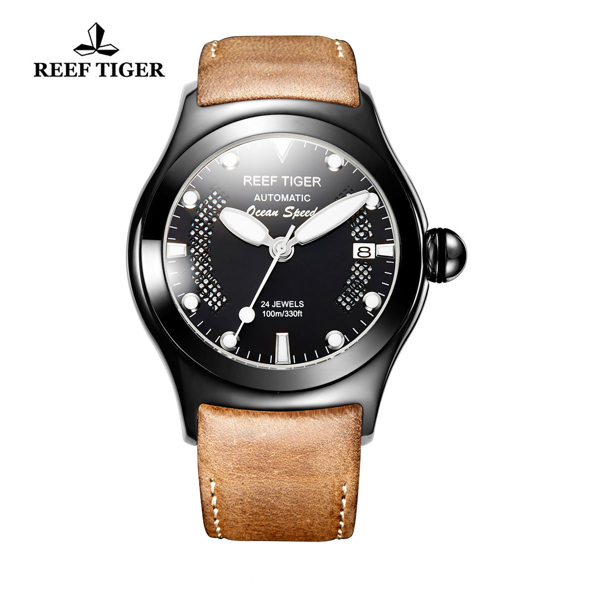 Reef Tiger Ocean Speed Sport Watches Automatic PVD Case Brown Leather Black Dial Watch RGA704-BBBW