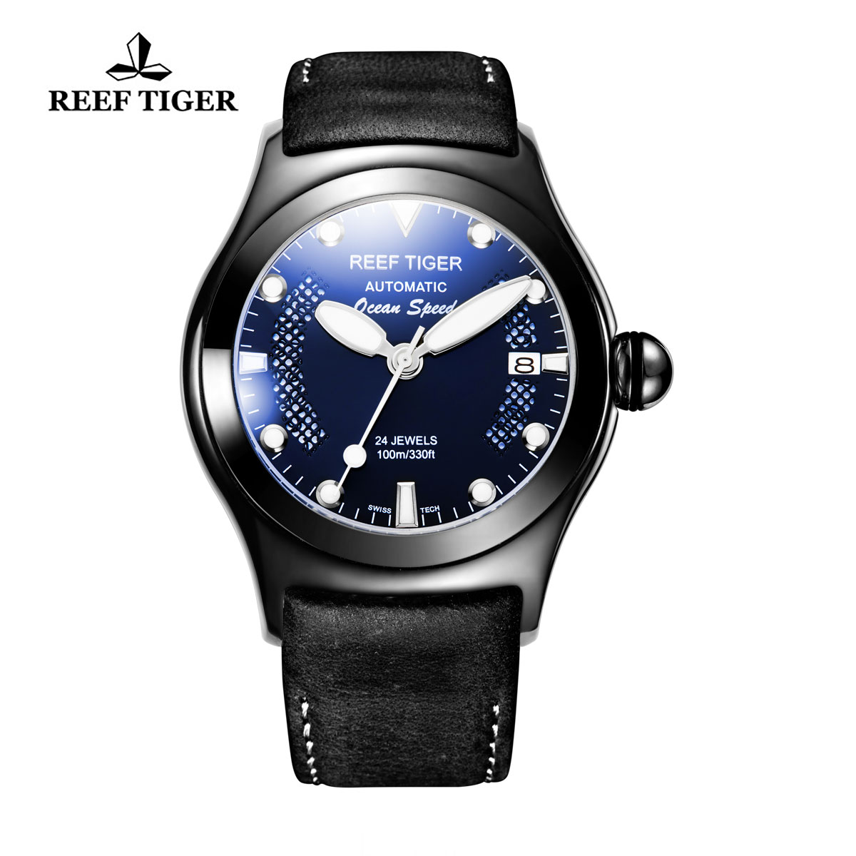 Reef Tiger Ocean Speed Sport Watches Automatic PVD Case Black Leather Blue Dial Watch RGA704-BLBW