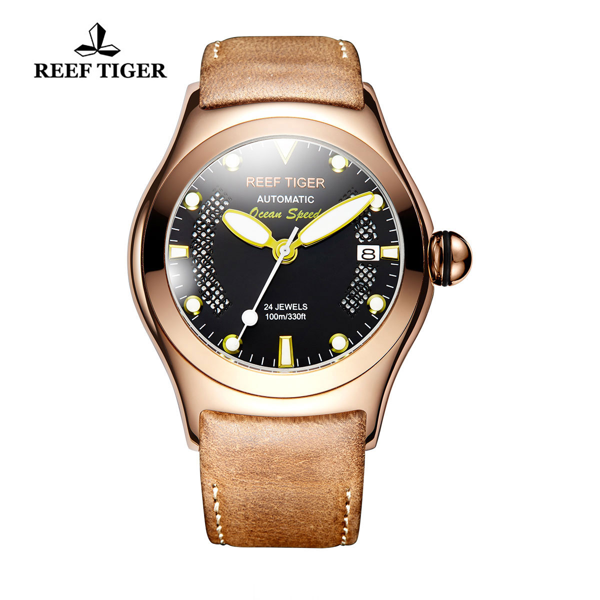 Reef Tiger Ocean Speed Sport Watches Automatic Rose Gold Case Leather Strap Black Dial Watch RGA704-PBBG