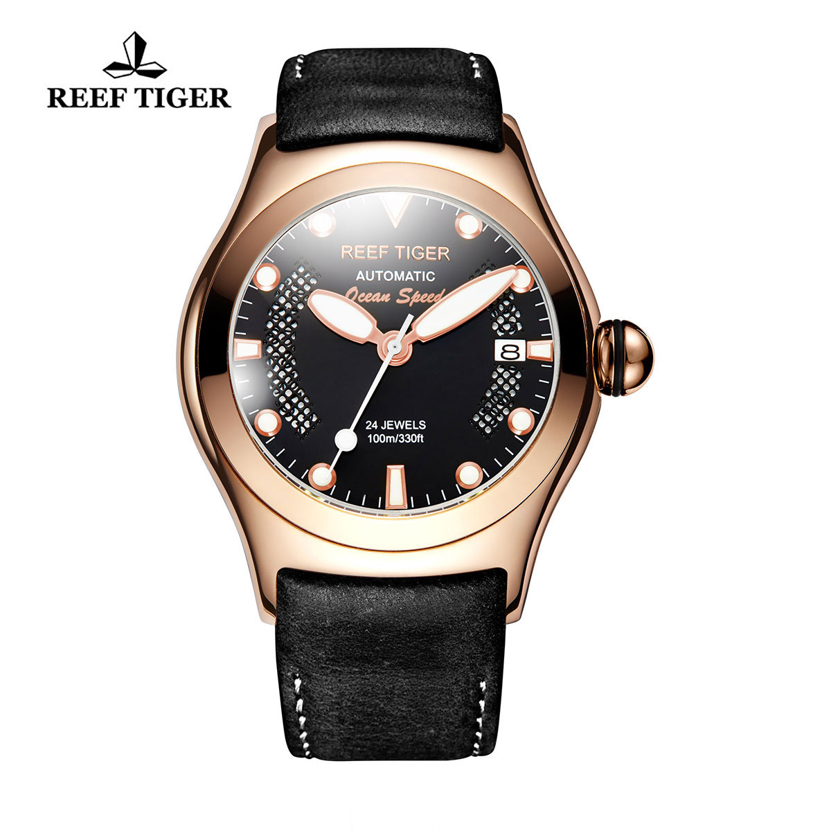 Reef Tiger Ocean Speed Sport Watches Automatic Rose Gold Case Leather Strap Black Dial Watch RGA704-PBBP