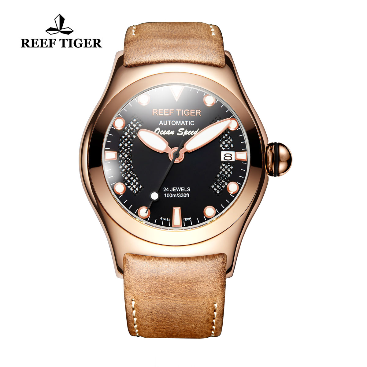 Reef Tiger Ocean Speed Sport Watches Automatic Leather Strap Black Dial Rose Gold Case Watch RGA704-PBBPB