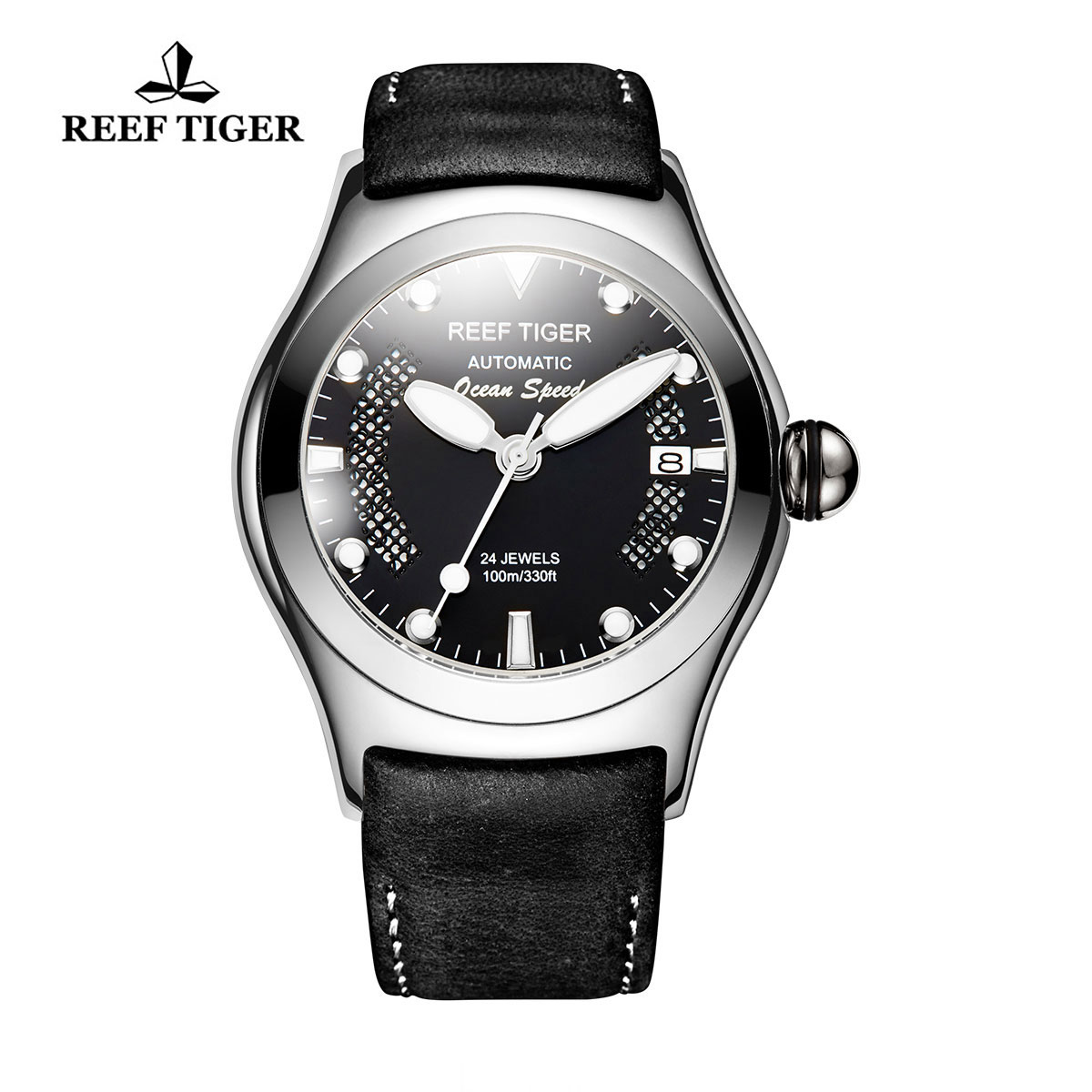 Reef Tiger Ocean Speed Sport Watches Automatic Steel Case Leather Strap Black Dial Watch RGA704-YBBW