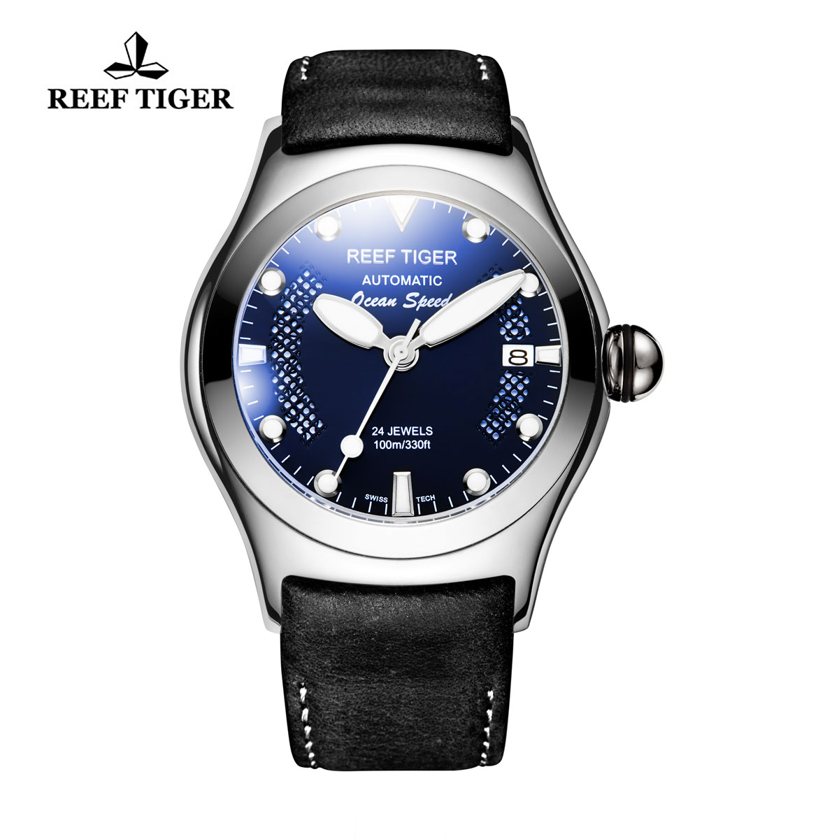 Reef Tiger Ocean Speed Sport Watches Automatic Steel Case Black Leather Blue Dial Watch RGA704-YLBW