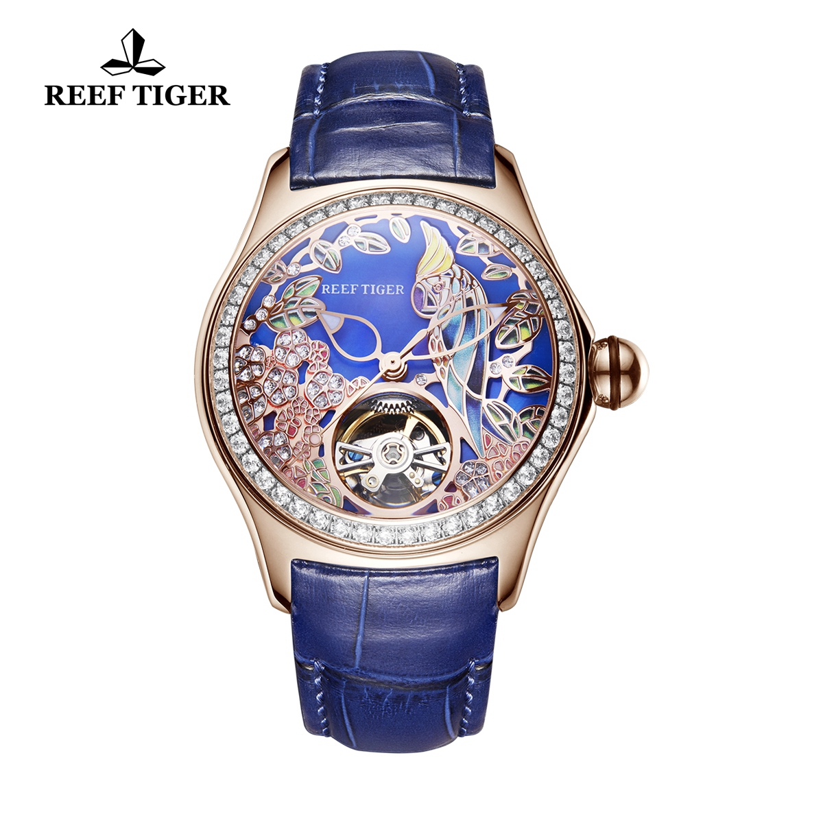 Reef Tiger Aurora Parrot Casual Diamonds Bezel Watch Rose Gold Case Leather Strap RGA7105-PLLD