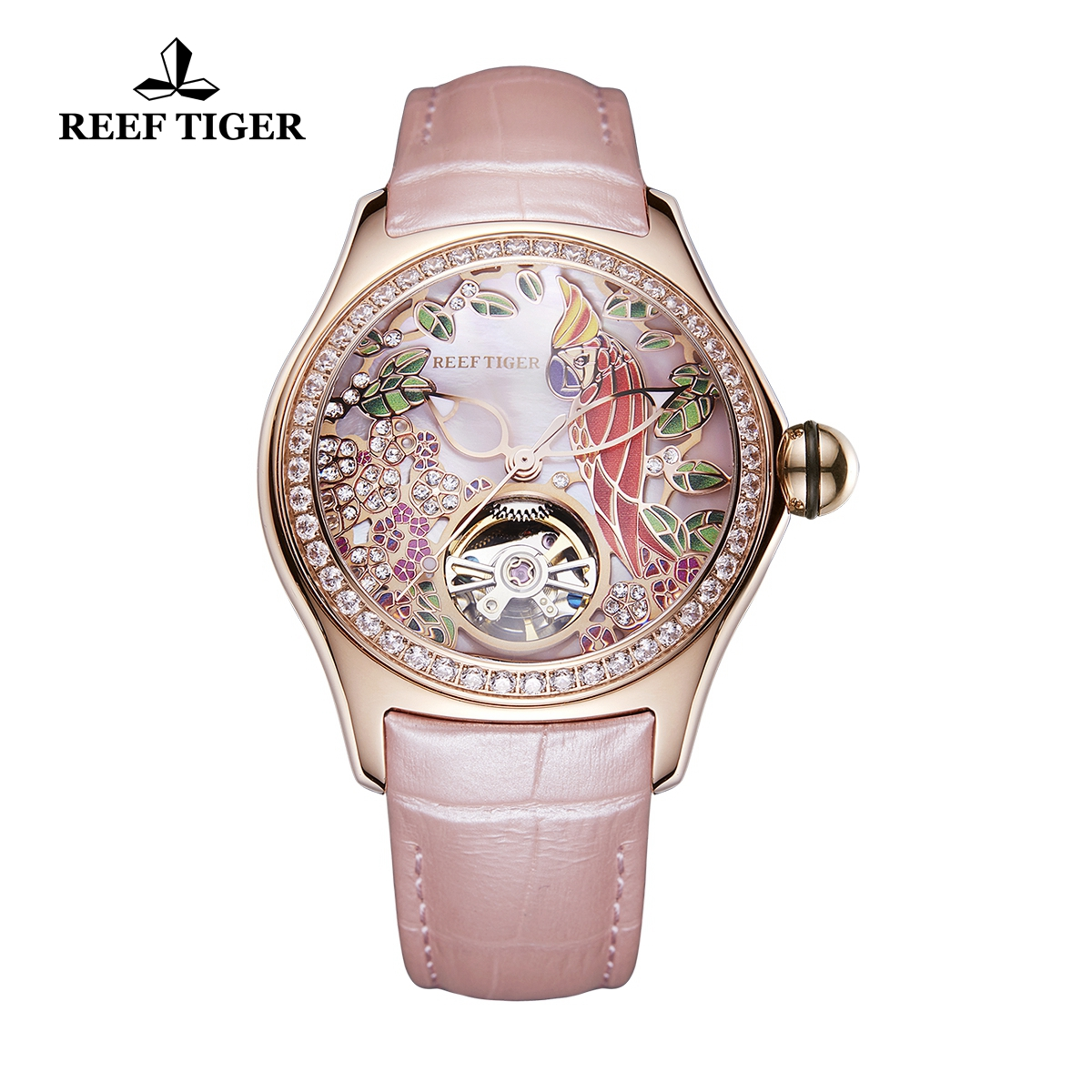 Reef Tiger Aurora Parrot Casual Diamonds Bezel Watch Rose Gold Case Leather Strap RGA7105-PPPD