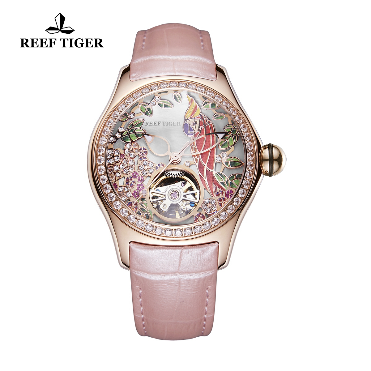 Reef Tiger Aurora Parrot Casual Diamonds Bezel Watch Rose Gold Case Leather Strap RGA7105-PSPD