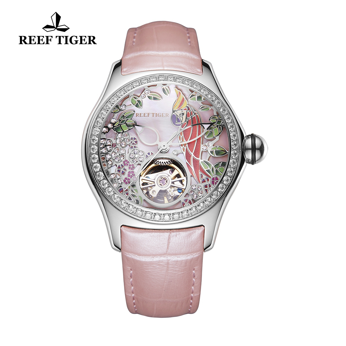 Reef Tiger Aurora Parrot Casual Diamonds Bezel Watch Rose Gold Case Leather Strap RGA7105-YPPD