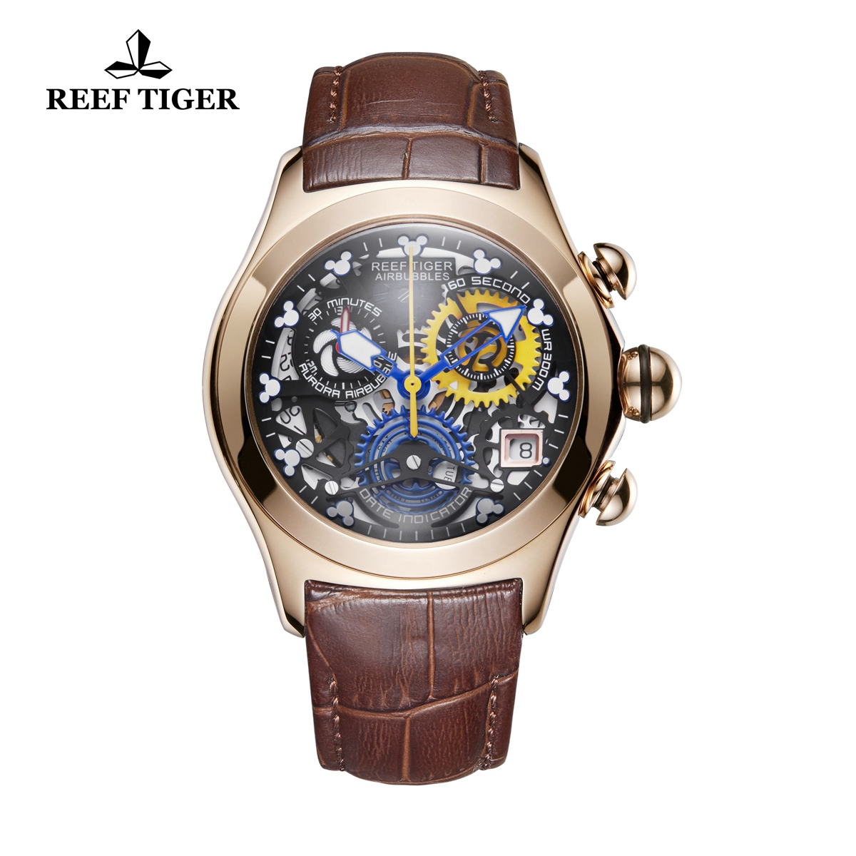 Reef Tiger Air Bubble Casual Watches Quartz Watch Rose Gold Case Leather Strap RGA7181