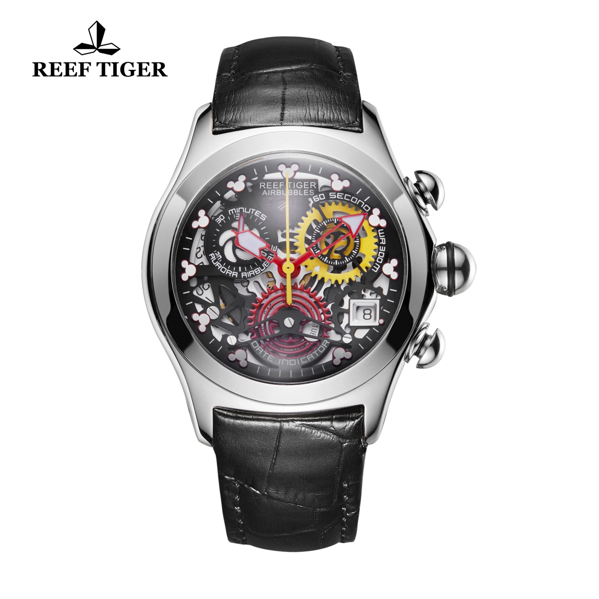 Reef Tiger Air Bubble Casual Watches Quartz Watch Steel Case Leather Strap RGA7181