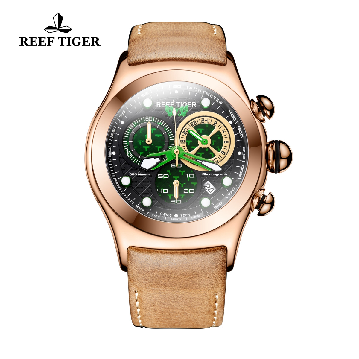 Reef Tiger Aurora Dragon Men's Casual Rose Gold Quartz Watch Leather Strap Watches RGA782-PNS