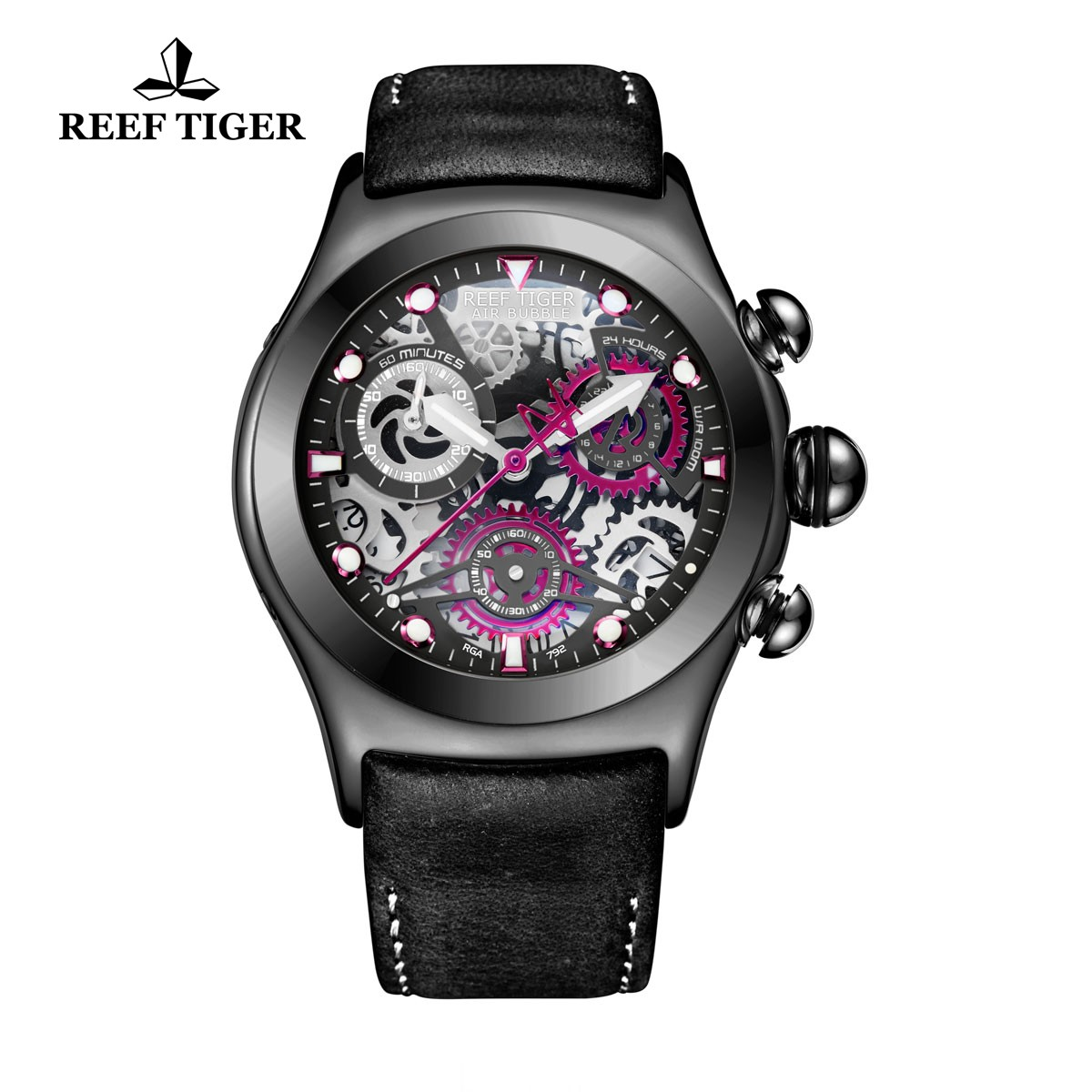 Reef Tiger Big Bang Sport Casual Watches Chronograph Watch PVD Case Leather Strap RGA792-BBB