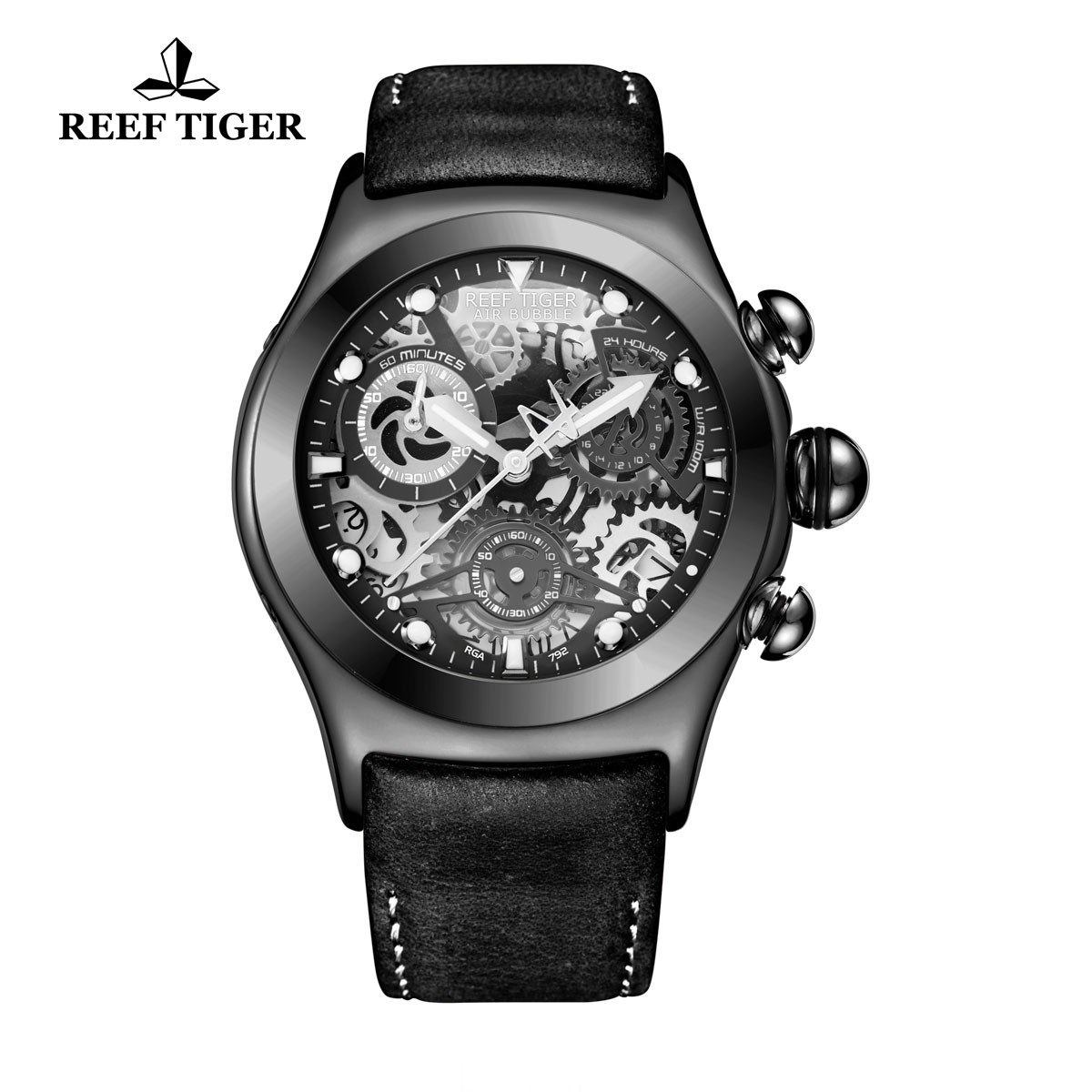 Reef Tiger Big Bang Sport Casual Watches Chronograph Watch PVD Case Leather Strap RGA792-BBBW