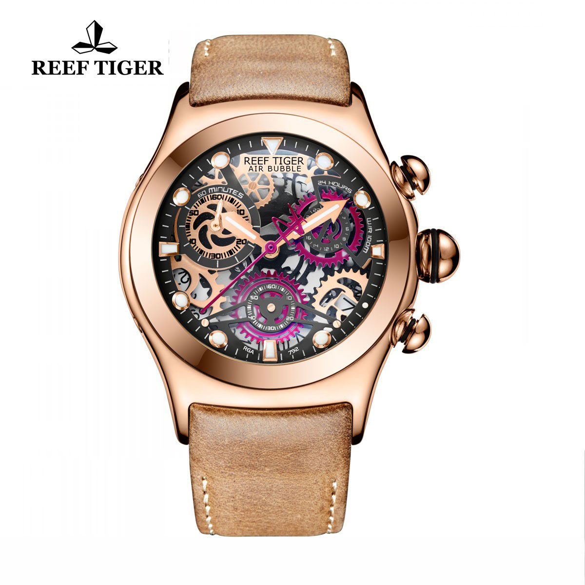 Reef Tiger Big Bang Sport Casual Watches Chronograph Watch Rose Gold Case Skeleton Dial RGA792-PBBR