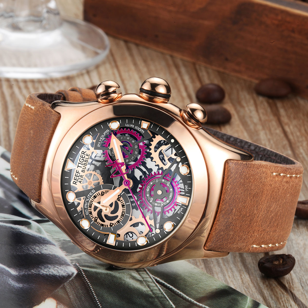 Reef Tiger Sport Casual Watches Chronograph Watch Rose Gold Case Skeleton Dial RGA792-PBBR