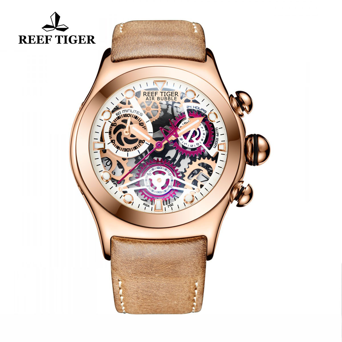 Reef Tiger Big Bang Sport Casual Watches Chronograph Watch Rose Gold Case Skeleton Dial RGA792-PWBS
