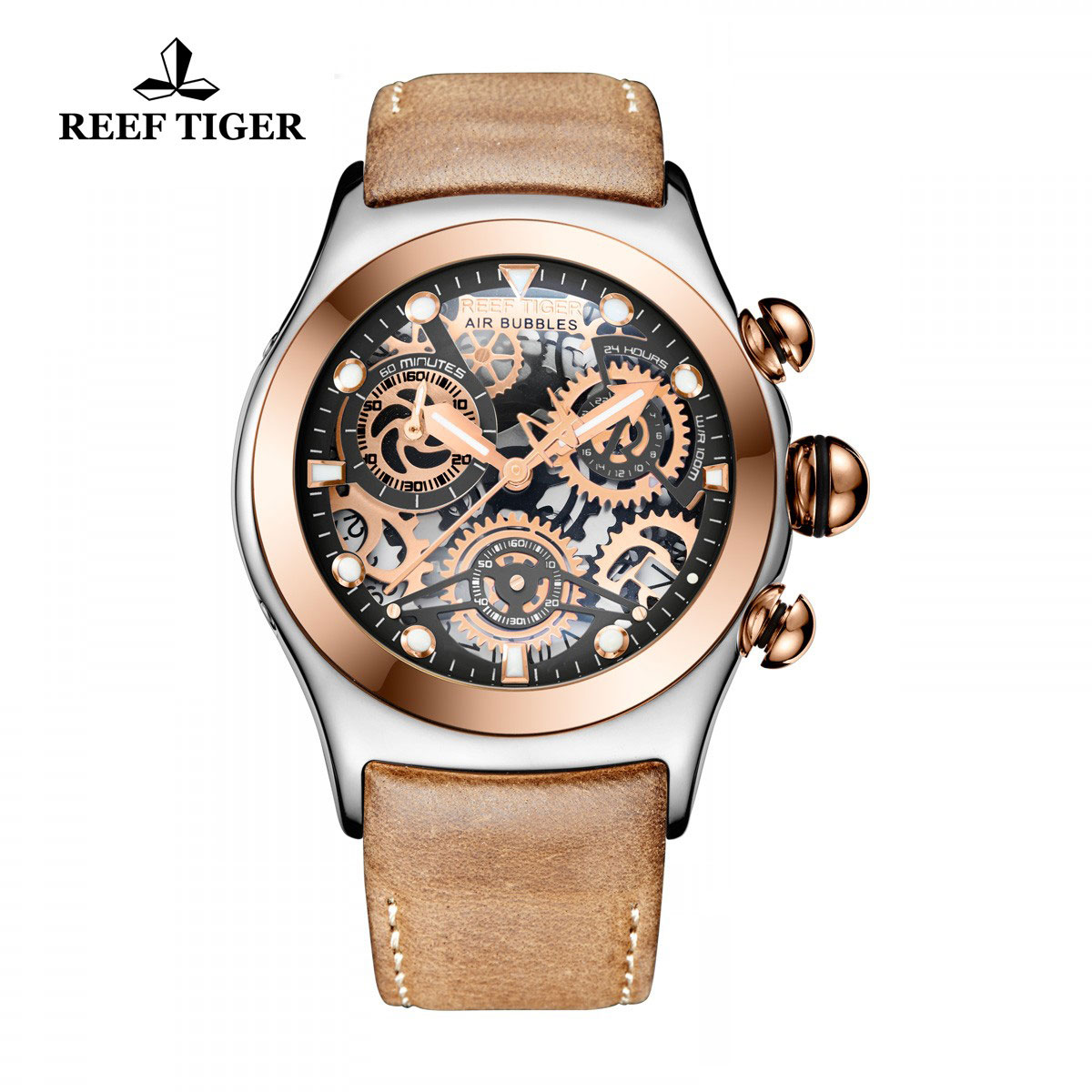 Reef Tiger Big Bang Sport Casual Watches Chronograph Watch Skeleton Dial Two Tone Case RGA792-TBB