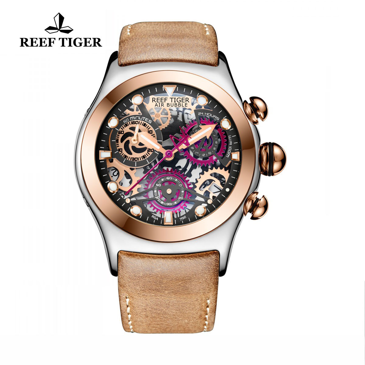 Reef Tiger Big Bang Sport Casual Watches Chronograph Watch Two Tone Case Skeleton Dial RGA792-TBBRG