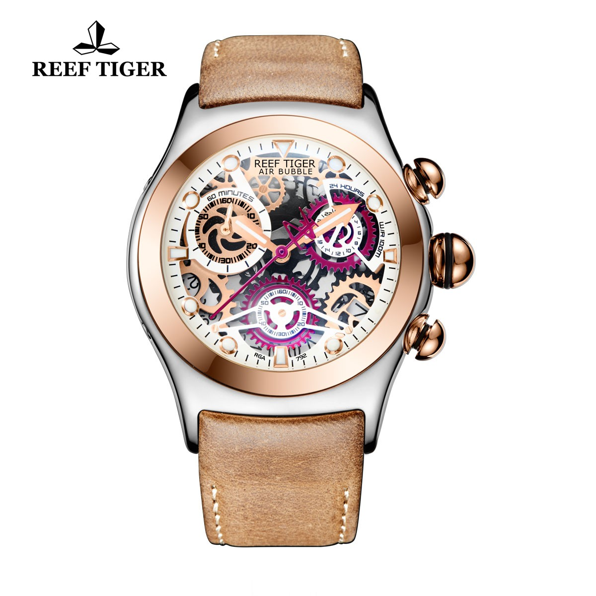 Reef Tiger Big Bang Sport Casual Watches Chronograph Watch Rose Gold Case Leather Strap RGA792-TWBS
