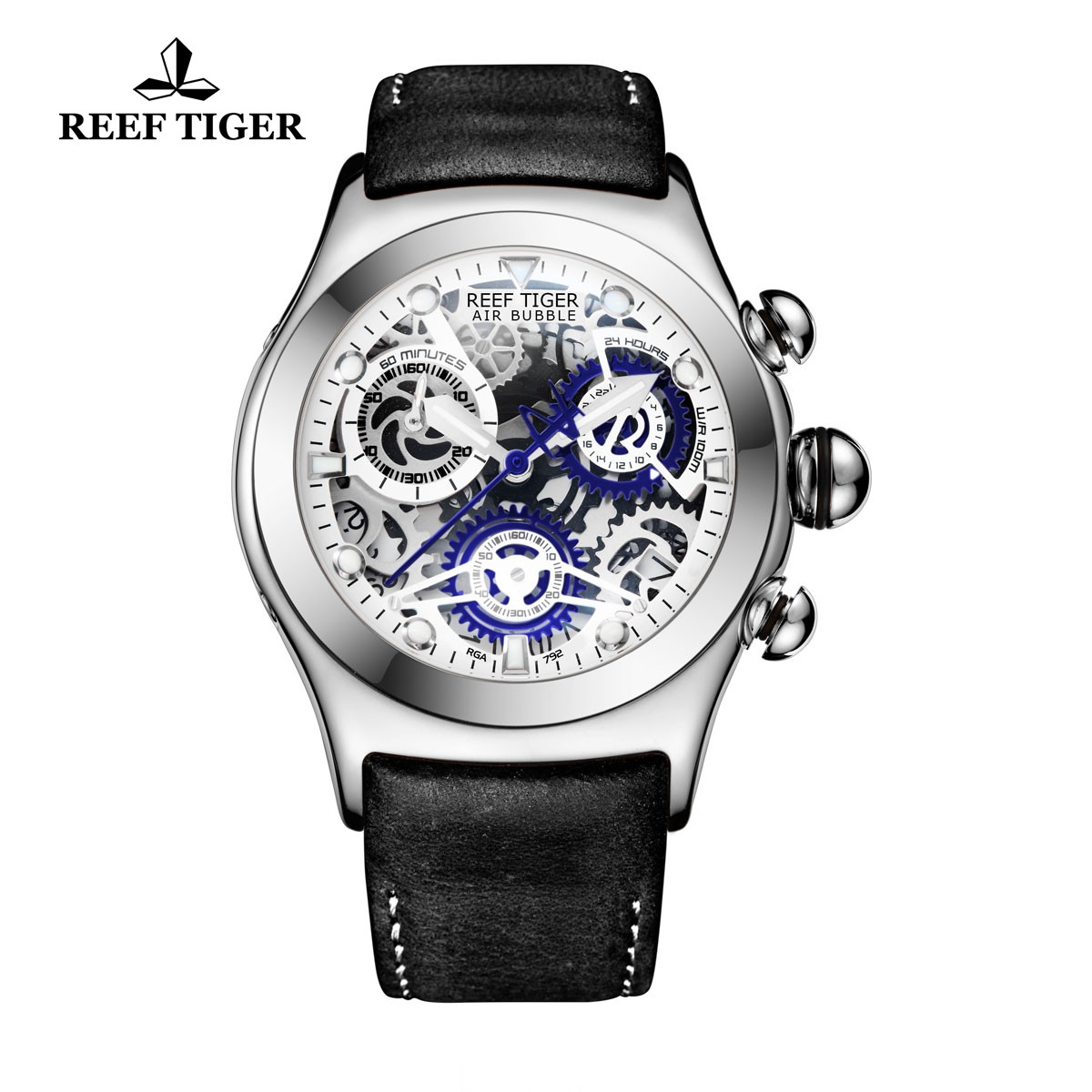 Reef Tiger Sport Casual Watches Chronograph Watch Steel Case Skeleton Dial RGA792-YLB