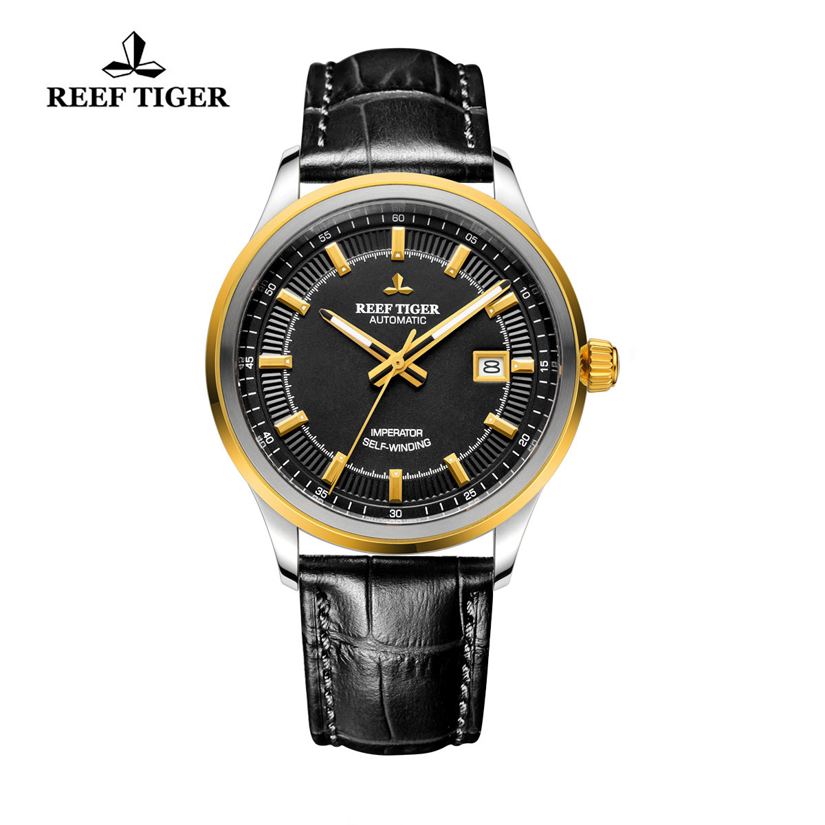 Reef Tiger Imperator Business Watch Automatic Black Dial Calfskin Leather RGA8015-GBB
