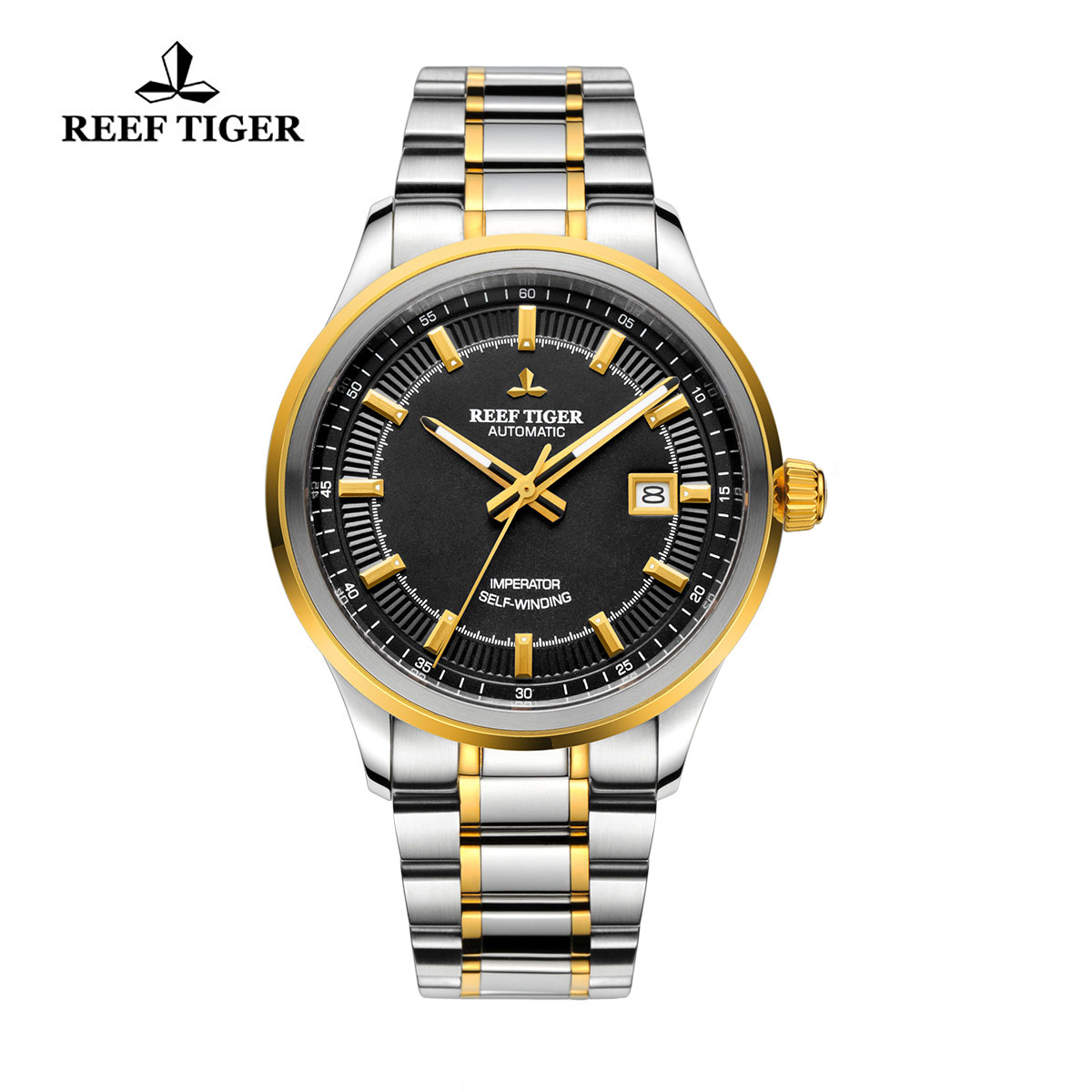 Reef Tiger Imperator Dress Watch Automatic Two Tone Black Dial RGA8015-GBT