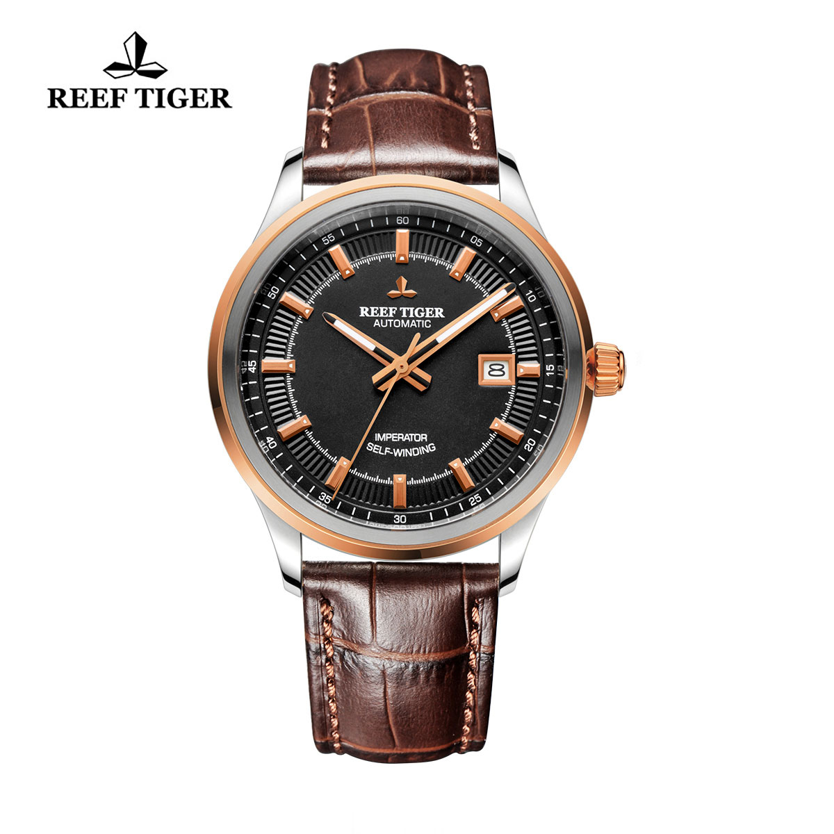 Reef Tiger Imperator Dress Watch Automatic Black Dial Calfskin Leather RGA8015-PBB