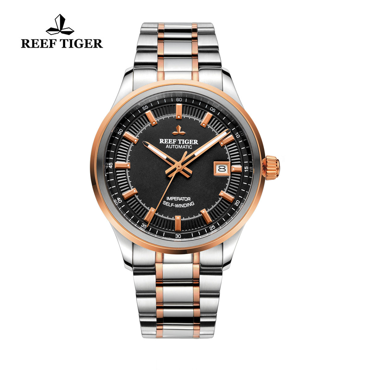 Reef Tiger Imperator Dress Watch Automatic Steel/Rose Gold Black Dial RGA8015-PBT