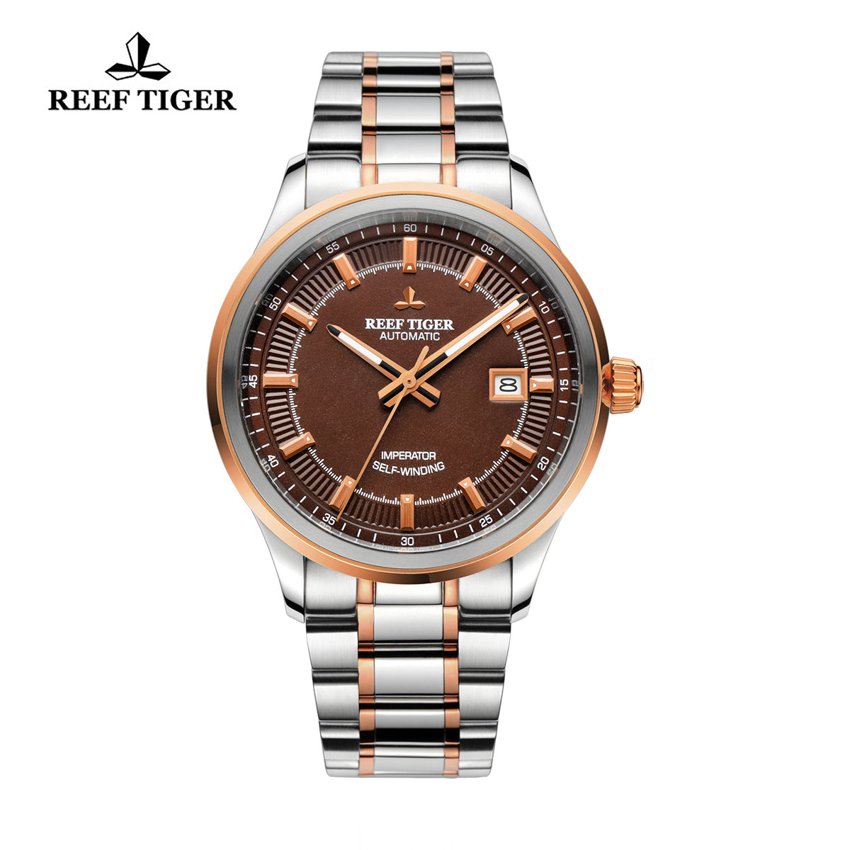 Reef Tiger Imperator Dress Watch Automatic Steel/Rose Gold Brown Dial RGA8015-PST