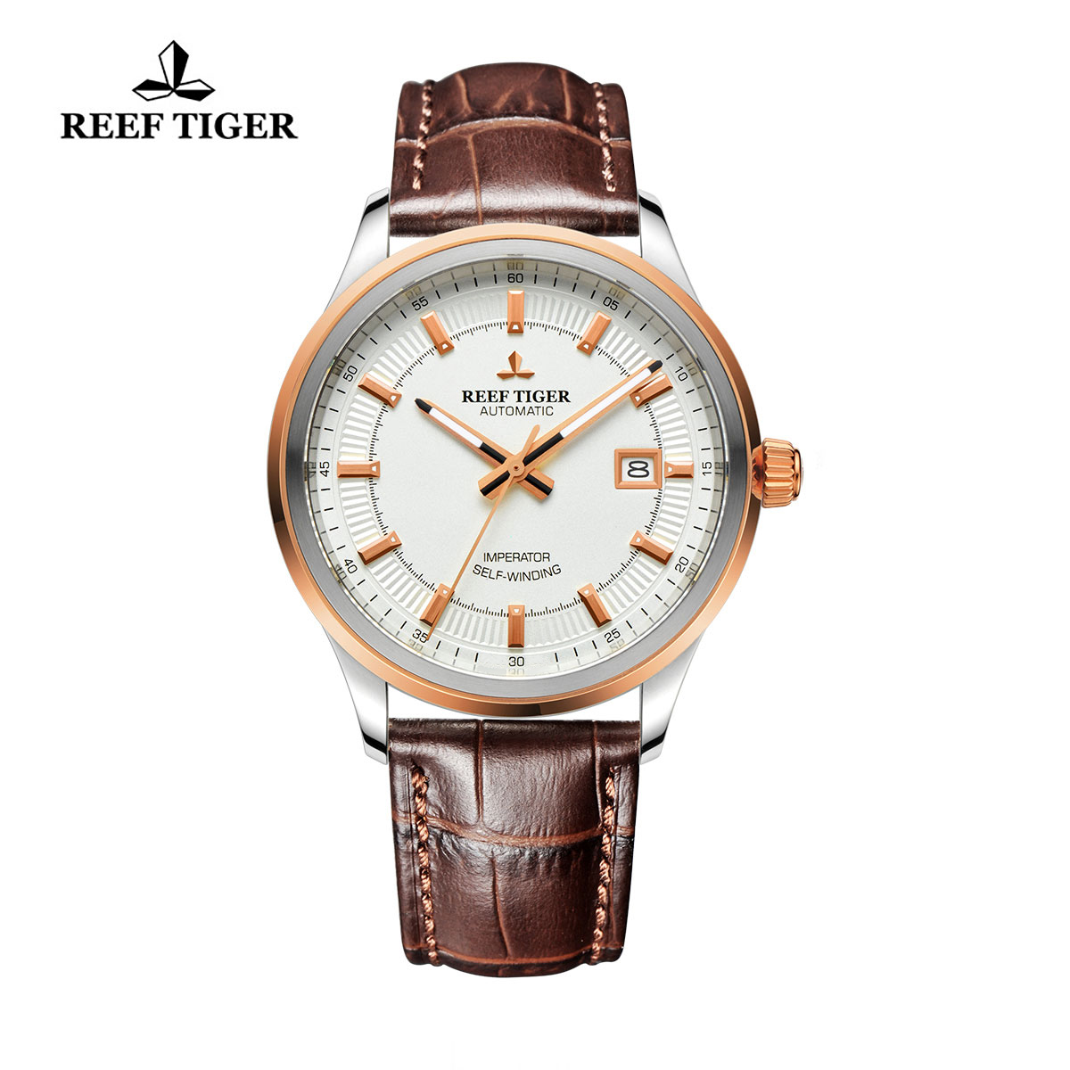 Reef Tiger Imperator Dress Watch Automatic White Dial Calfskin Leather RGA8015-PWB