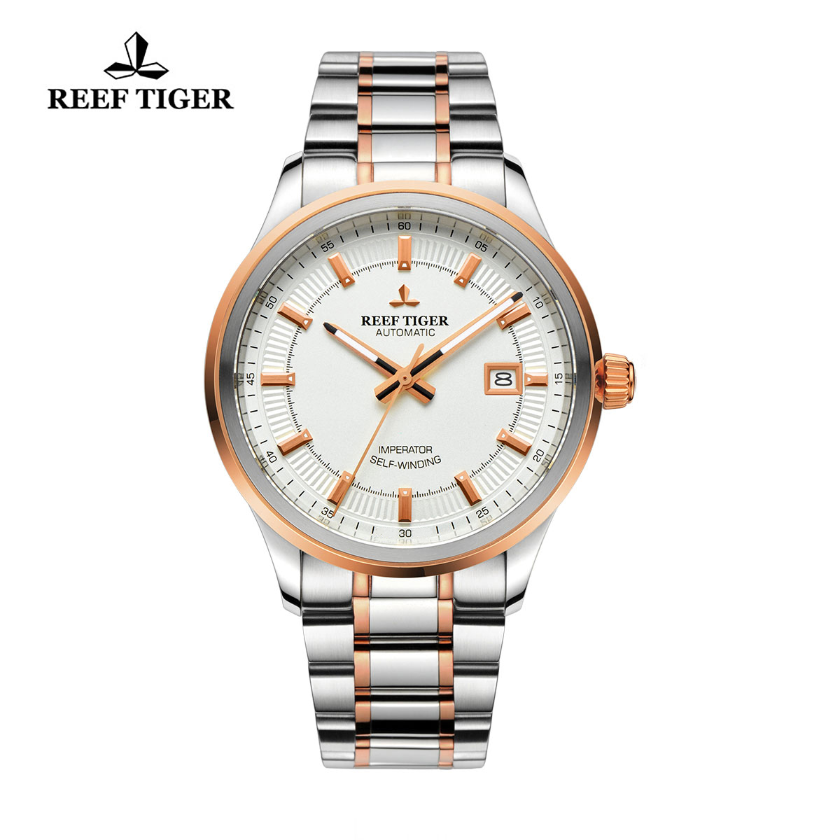 Reef Tiger Imperator Dress Watch Automatic Steel/Rose Gold White Dial RGA8015-PWT