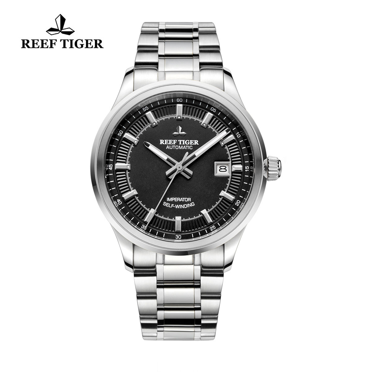 Reef Tiger Imperator Dress Watch Automatic Stainless Steel Black Dial RGA8015-YBY