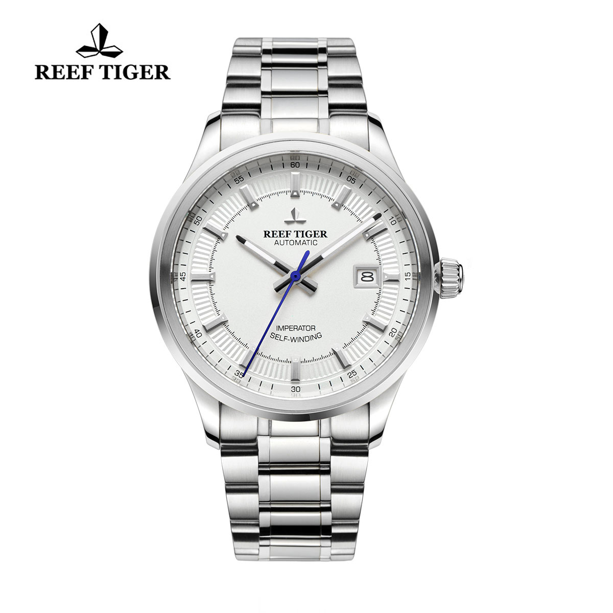 Reef Tiger Imperator Dress Watch Automatic Stainless Steel White Dial RGA8015-YWY