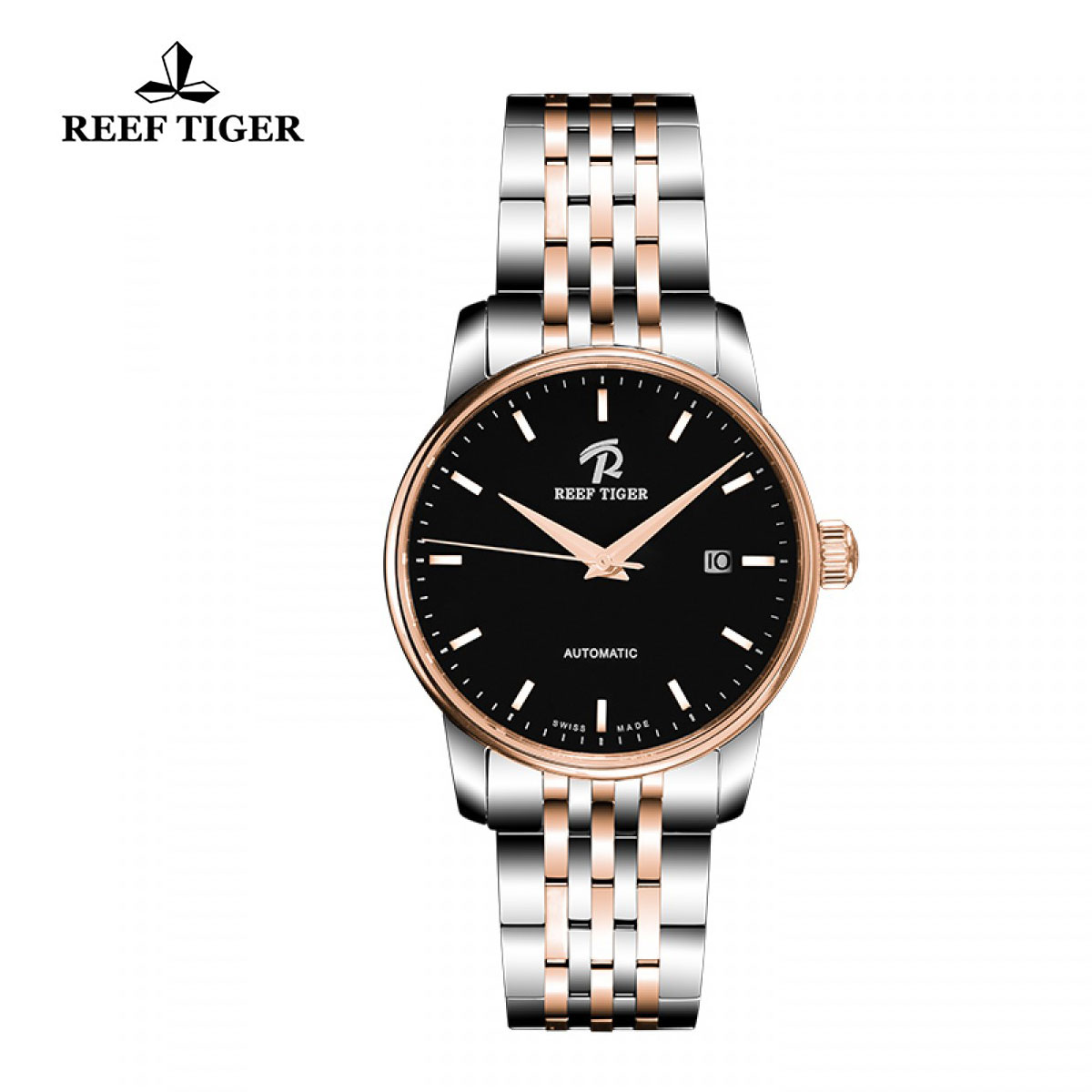 Reef Tiger Classic Fusion Dress Watch with Date Black Dial Two Tone Watch RGA810-TBT