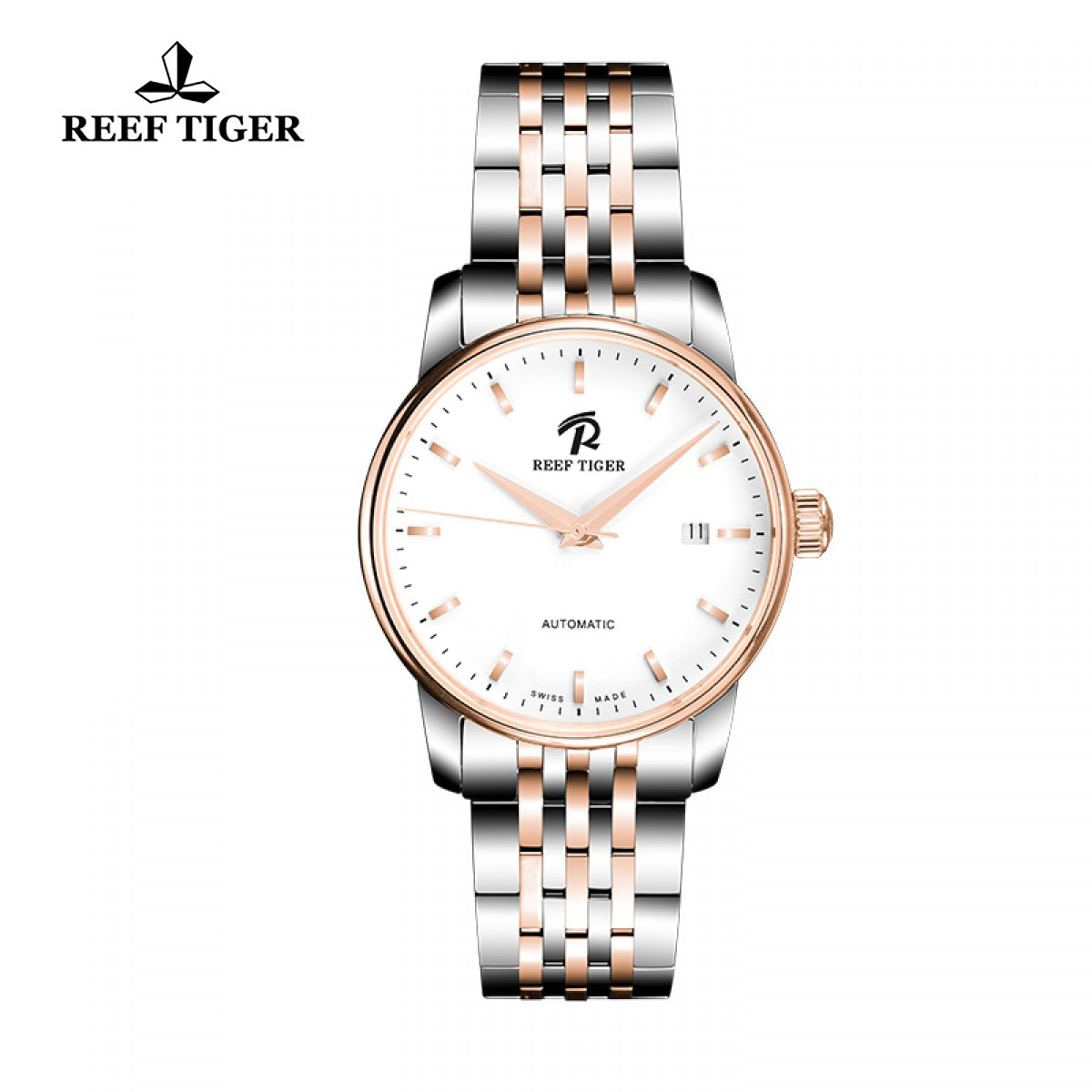 Reef Tiger Classic Fusion Dress Watch with Date White Dial Two Tone Watch RGA810-TWT