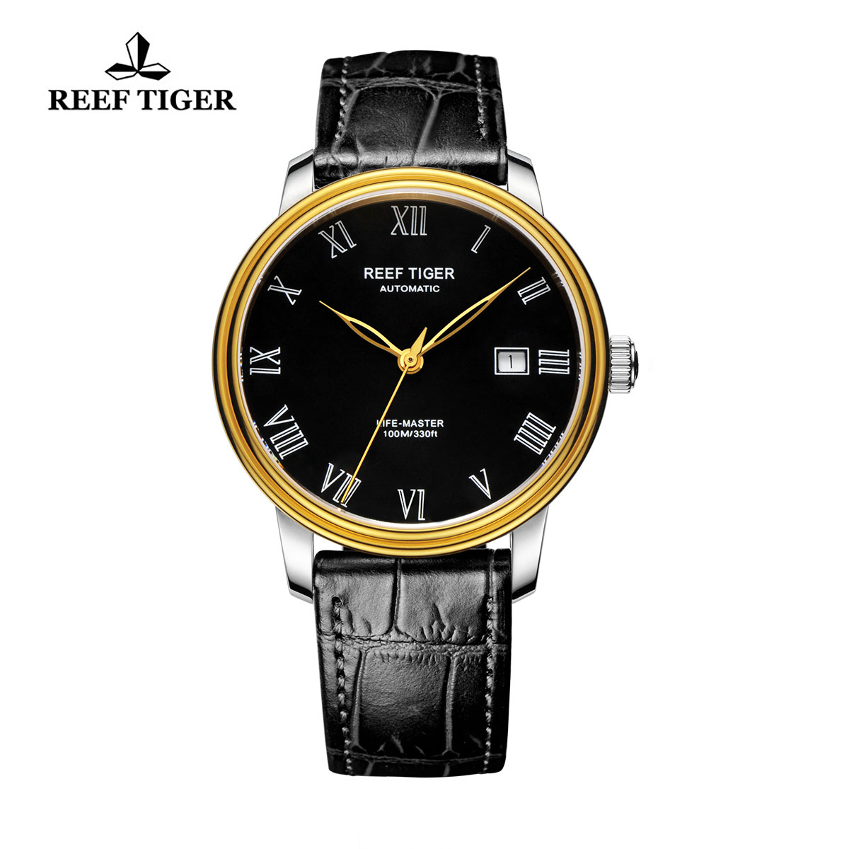Reef Tiger Life-Master Business Watch Automatic Yellow Gold/Steel Black Dial RGA812-GBB