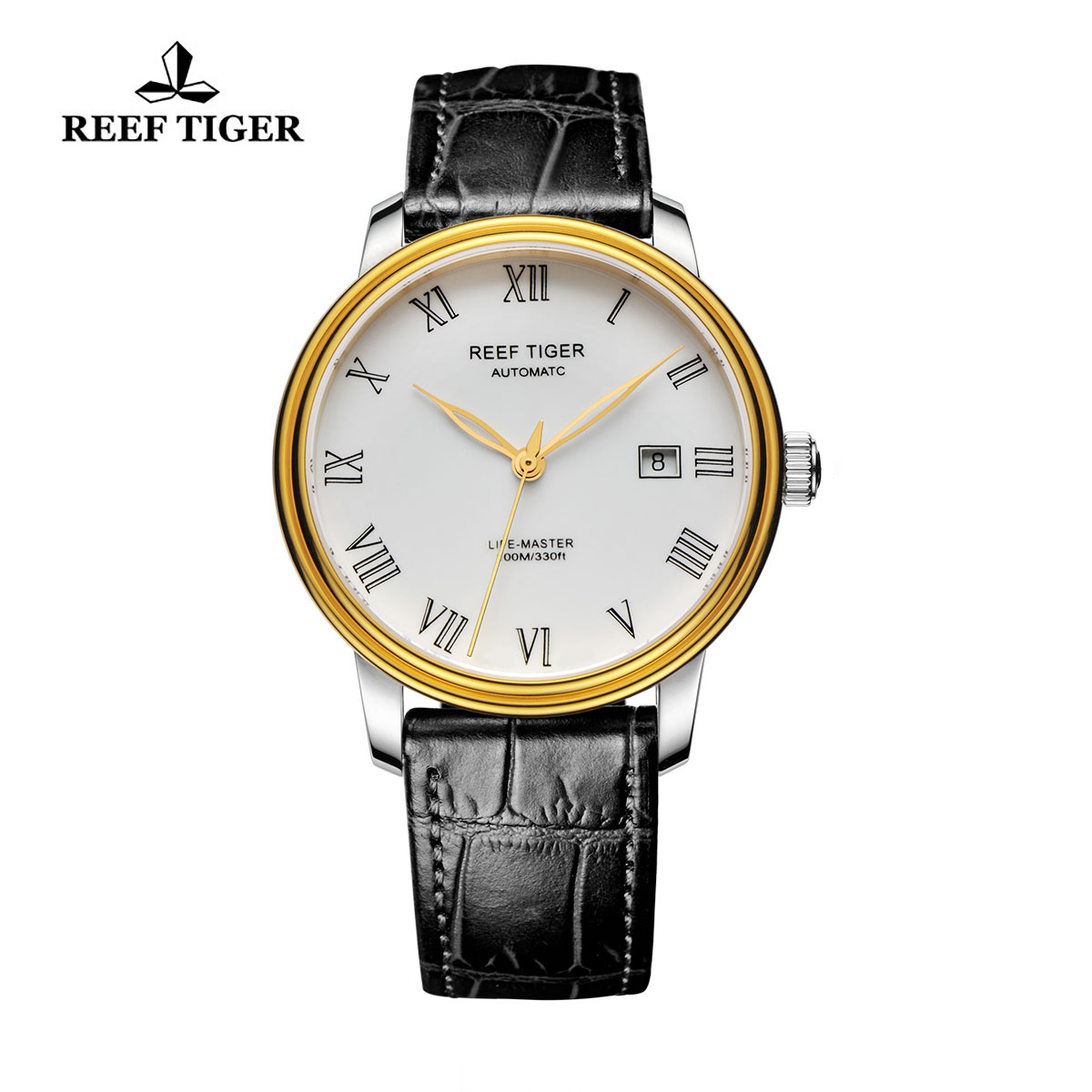 Reef Tiger Life-Master Business Watch Automatic Yellow Gold/Steel White Dial RGA812-GWB
