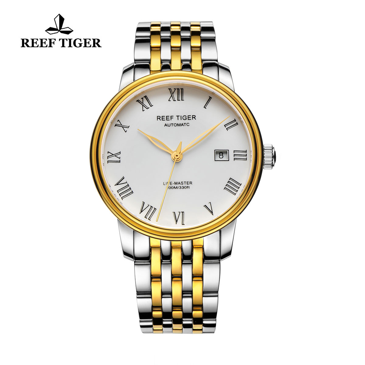 Reef Tiger Life-Master Dress Watch Automatic Yellow Gold/Steel White Dial RGA812-GWT