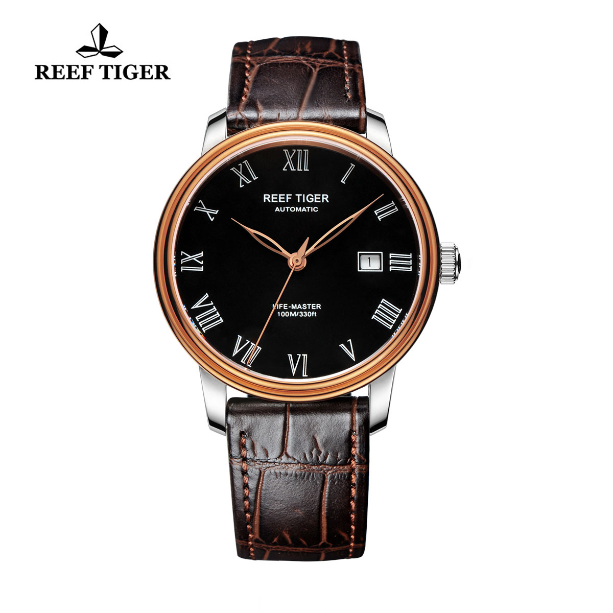 Reef Tiger Life-Master Business Watch Automatic Rose Gold/Steel Black Dial RGA812-PBB